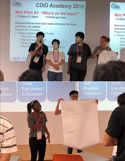Sinh viên Lê Quang Thành (ngoài cùng bên trái - ảnh trên) và sinh viên Trish Maguta (nữ - ảnh dưới) trình bày ý tưởng sản phẩm tại cuộc thi