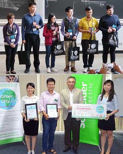 Sinh viên Lê Đình Nhật Khánh của ĐH Duy Tân (áo vàng) trong đội Vô dịch CDIO Academy 2017 (ảnh trên) và sinh viên Duy Tân đoạt giải Sản phẩm được Bình chọn nhiều nhất tại Microsoft Imagine Cup Châu Á 2018 (ảnh dưới)