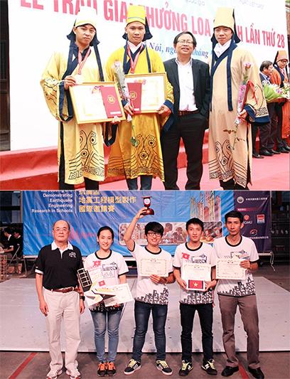 Sinh viên Khoa Kiến trúc nhận giải Ba và giải Hội đồng Loa Thành 2016 (ảnh trên); Sinh viên Khoa Xây dựng đoạt Cup Vô địch IDEERS châu Á - Thái Bình Dương năm 2014 tại Đài Loan (ảnh dưới)