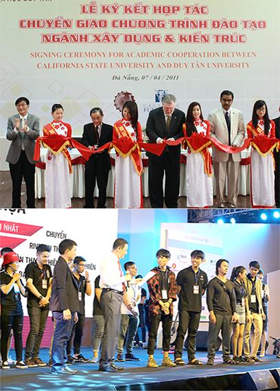 Những hợp tác trong nước và quốc tế mang lại nhiều lợi ích trong học tập cho sinh viên Duy Tân (ảnh trên); Sinh viên Võ Văn Dự (áo kẻ đỏ ở giữa-ảnh dưới) của ĐH Duy Tân giành giải nhất Hội họa tại Festival Kiến trúc 2018