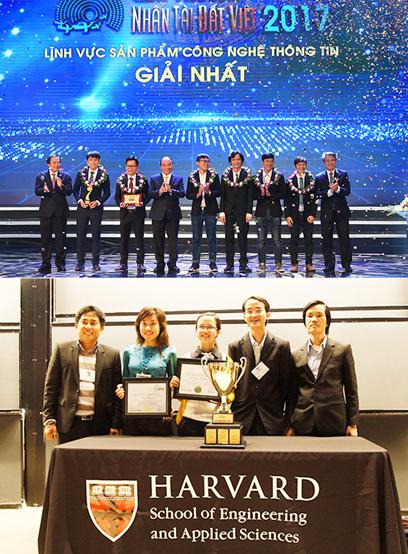 Thủ tướng Nguyễn Xuân Phúc trao giải Nhất lĩnh vực Công nghệ thông tin Giải thưởng Nhân tài Đất việt 2017 cho nhóm tác giả ĐH Duy Tân và sinh viên đoạt Cúp Vô địch cuộc thi CDIO Academy năm 2013 (tại Học viện MIT và Đại học Harvard, Mỹ)