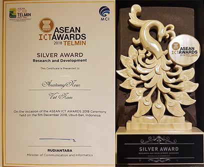 Giấy chứng nhận sản phẩm giành giải Bạc của ĐH Duy Tân (ảnh trái) và Linh vật kỷ niệm chương trình của chủ nhà Indonesia đăng cai ASEAN ICT Awards 2018 (ảnh phải)