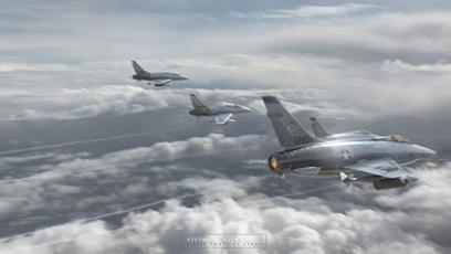Máy bay Mỹ trang bị hỏa lực hạng nặng gồm tên lửa tầm nhiệt và bom với mưu đồ đánh sập cầu Hàm Rồng. (Ảnh: Silver Swallow Studio)