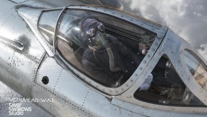 """Phi Công Việt Nam trong buồng lái của """"Én Bạc"""" MiG-17. (Ảnh: Silver Swallow Studio)"""