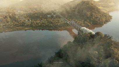 Cầu Hàm Rồng, Thanh Hóa được tái hiện sinh động trong phim với kỹ xảo đồ họa. (Ảnh: Silver Swallow Studio)