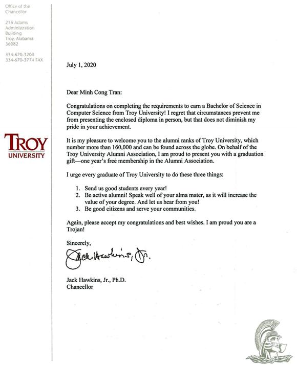 Hiệu trưởng Đại học Troy (Mỹ) gửi thư chúc mừng sinh viên Duy Tân tốt nghiệp khóa đầu