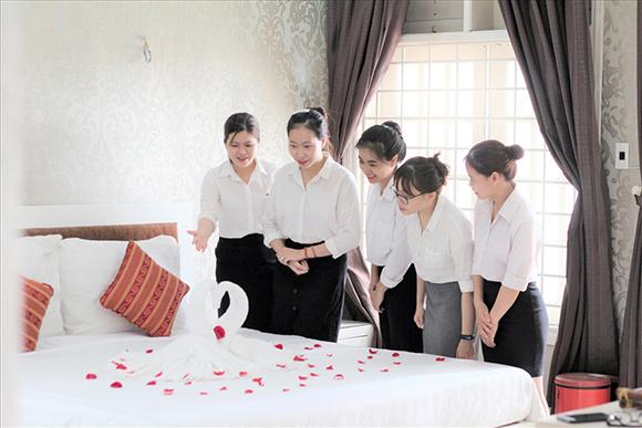 Sinh viên Du lịch thực hành ở khách sạn mini tại cơ sở Hà Bổng