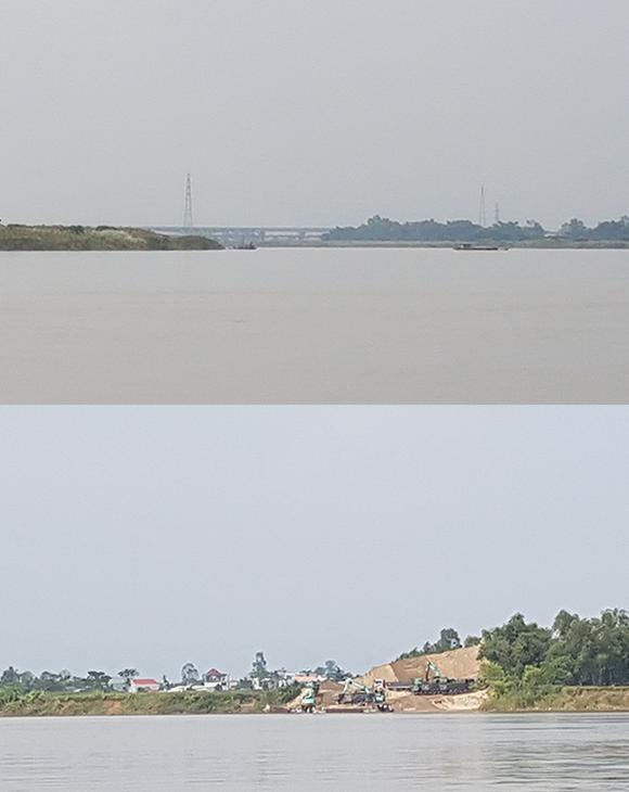 Các tàu khai thác cát (hình trên) và tập kết cát (hình dưới) trên sông Thu Bồn