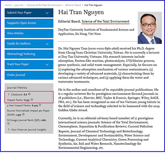 TS Trần Nguyễn Hải được giới thiệu trên tạp chí Science of the Total Environment