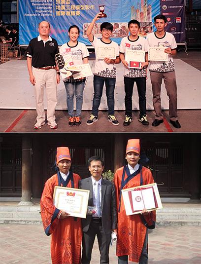 Sinh viên Duy Tân với Cup Vô địch IDEERS châu Á - Thái Bình Dương (ảnh trên) và nhận Giải thưởng Loa thành (ảnh dưới)