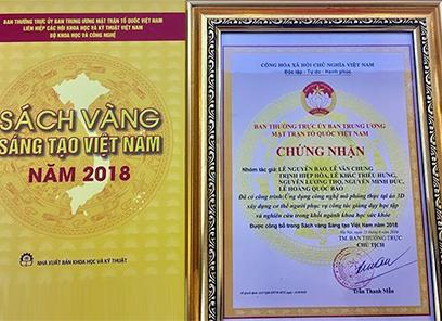 Ứng dụng 3D trong Y học của ĐH Duy Tân được in trong Sách Vàng Sáng tạo Việt Nam 2018