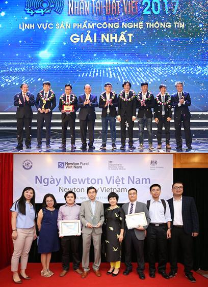 Thủ tướng Nguyễn Xuân Phúc trao giải Nhất Giải thưởng Nhân tài Đất việt 2017 cho nhóm tác giả ĐH Duy Tân và các nhà khoa học của ĐH Duy Tân nhận Giải Newton Prize 2017